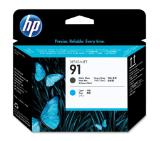 HP 91 Matte Black and Cyan Printhead